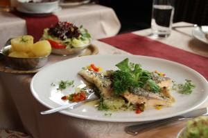 Zander-und Lachsfilet mit Butterkartoffeln und gemischtem Salat